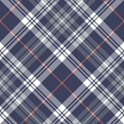 Tartan check pattern seamless in blue, grey, orange, white. Herringbone large plaid texture graphic for blanket, duvet cover, scarf, other modern autumn winter everyday fashion fabric design.