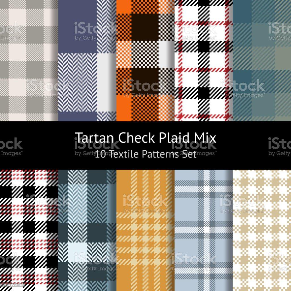 Tartan check plaid patterns set for textile designs. Beige, purple,...