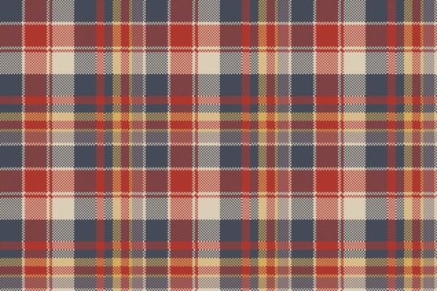 tartan coarse fabric texture seamless pattern - flannel backgrounds stock illustrations, clip art, cartoons, & icons