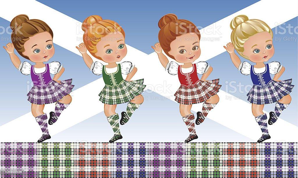 Tartan Day - Scottish dance vector art illustration