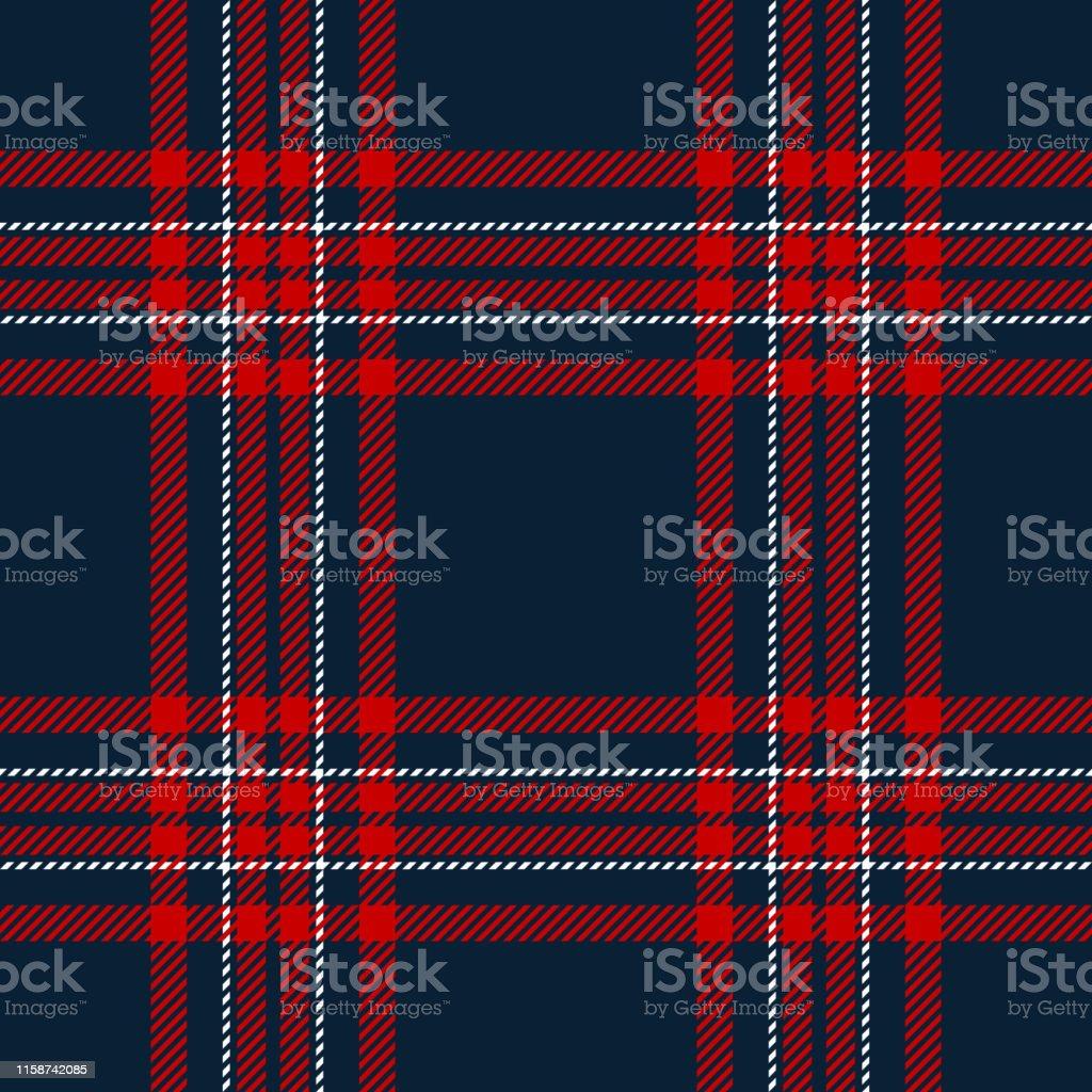 Tartan pattern seamless vector background. Check plaid in dark blue,...