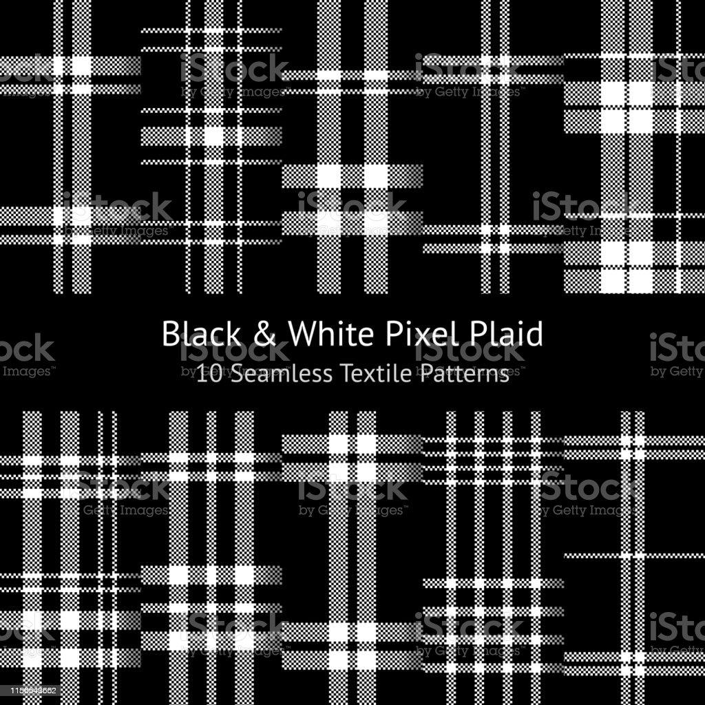 Tartan pattern set. Seamless check plaid in monochrome black and...