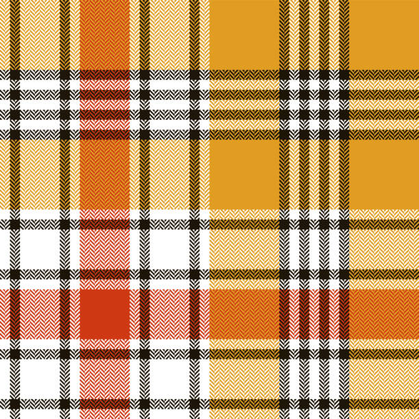 Tartan plaid pattern background. Seamless bright colorful herringbone check plaid red, black, yellow, white for scarf, blanket, throw, duvet cover, or other autumn winter fabric design. Tartan plaid pattern background. Seamless bright colorful herringbone check plaid red, black, yellow, white for scarf, blanket, throw, duvet cover, or other autumn winter fabric design. autumn patterns stock illustrations
