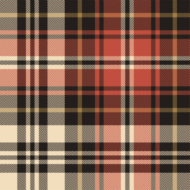 Tartan plaid pattern background. Seamless herringbone check plaid graphic in black, gold, and red for scarf, flannel shirt, blanket, throw, duvet cover, or other autumn winter fabric design. Tartan plaid pattern background. Seamless herringbone check plaid graphic in black, gold, and red for scarf, flannel shirt, blanket, throw, duvet cover, or other autumn winter fabric design. autumn patterns stock illustrations