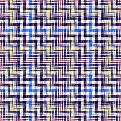 Tartan plaid pattern glen multicolored in navy blue, bright blue, red, yellow, white. Seamless tweed check for jacket, skirt, blanket, duvet cover, other spring, autumn winter fashion textile design.