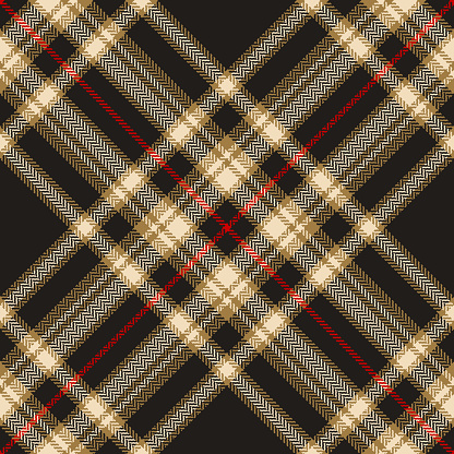 Tartan plaid pattern in black, gold brown, red, beige. Herringbone textured seamless dark check plaid graphic for flannel shirt, blanket, or other modern autumn winter fashion textile design.