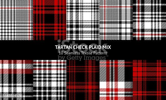 Tartan plaid pattern set. Seamless black, red, and white check plaid graphics in for scarf, flannel shirt, blanket, throw, upholstery, or other modern clothing fabric design.