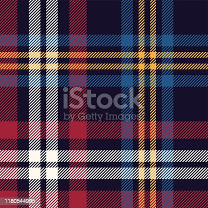 Tartan plaid pattern vector. Seamless multicolored dark check plaid graphic in blue, red, yellow, and off white for flannel shirt, blanket, throw, upholstery, or other modern textile design.