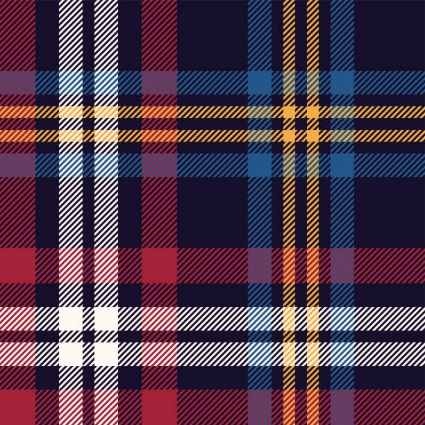Tartan plaid pattern vector. Seamless multicolored dark check plaid graphic in blue, red, yellow, and off white for flannel shirt, blanket, throw, upholstery, or other modern textile design. Tartan plaid pattern vector. Seamless multicolored dark check plaid graphic in blue, red, yellow, and off white for flannel shirt, blanket, throw, upholstery, or other modern textile design. tartan pattern stock illustrations