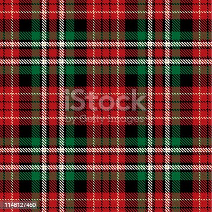 Red, Black, Green  and  White  Tartan Plaid Scottish Seamless Pattern. Texture from tartan, plaid, tablecloths, shirts, clothes, dresses, bedding, blankets and other textile.