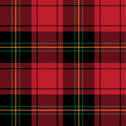 Tartan plaid seamless pattern black yellow green line fabric texture red background, Scottish cage , New year Christmas Decoration, Check design Vector illustration