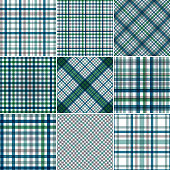 Vector illustration 9 color cotton seamless patterns.