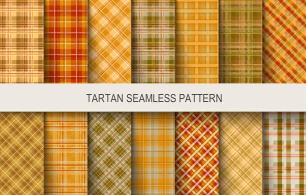 ilustraciones, imágenes clip art, dibujos animados e iconos de stock de patrones de vector transparente de tartán en colores marrón y naranja - fondos de franela
