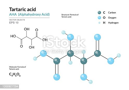 istock Tartaric acid. AHA Alphahydroxy acid. Structural chemical formula and molecule 3d model. Atoms with color coding. Vector illustration 1200927254