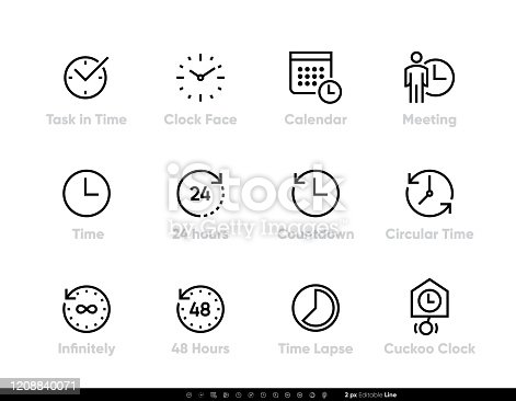 Task and Time icons set. Clock, Calendar, Meeting, 24 hours, Time, 48h, Lapse editable line vector illustration on white background