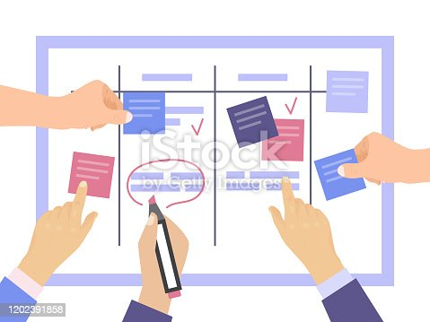 Task board concept with hands vector illustration. Work team planning weekly schedule project on task. Scheme whiteboard, schedule strategy process. Teamwork and collaboration, canban or scrum board
