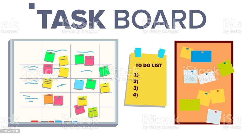 Task Board Set Vector. Sticker Notes. Scrum. Tasks For Team Work. Progress White Board. Isolated Illustration vector art illustration