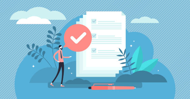Task done vector illustration. Flat tiny check to do list persons concept. vector art illustration