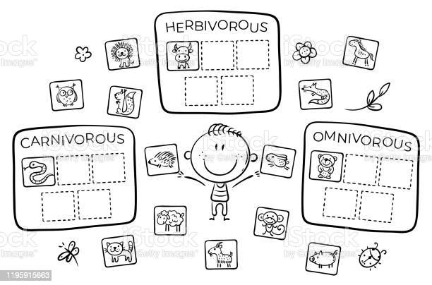 Task for kids carnivorous herbivorous and omnivorous animals vector id1195915663?b=1&k=6&m=1195915663&s=612x612&h=ciuvfc3rj5khkske eyjuisnrtboc 3jorw54ed344u=