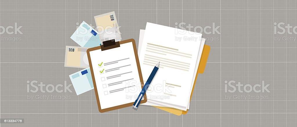 task list preparation contract document money loan credit vector art illustration