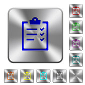 Task list rounded square steel buttons