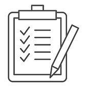 Task list thin line icon. Clipboard with checklist paper and pen symbol, outline style pictogram on white background. Business sign for mobile concept and web design. Vector graphics.