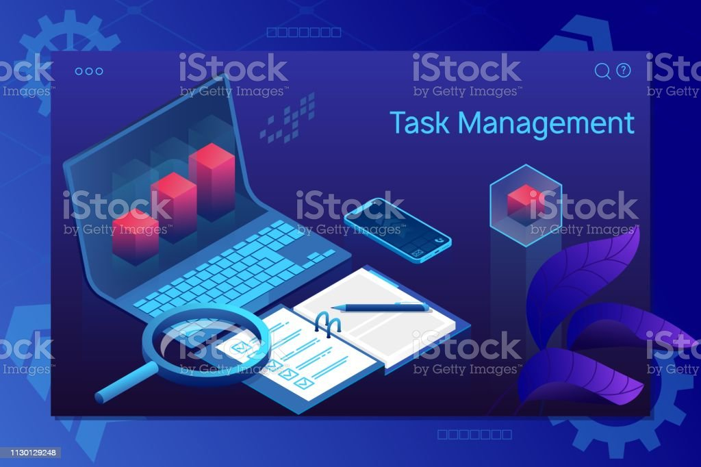 Task management, insurance, project management.Successful completion of business tasks. Page template. vector art illustration