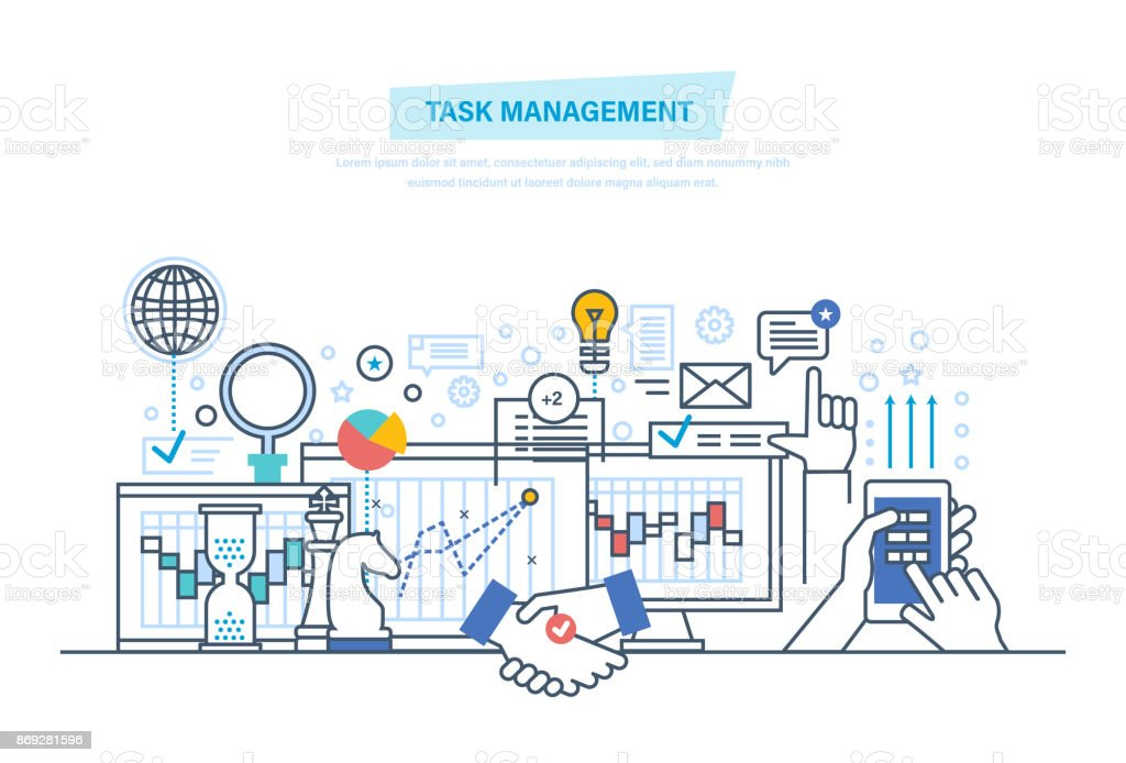Task-Management, Multitasking. Zeit-management – Vektorgrafik