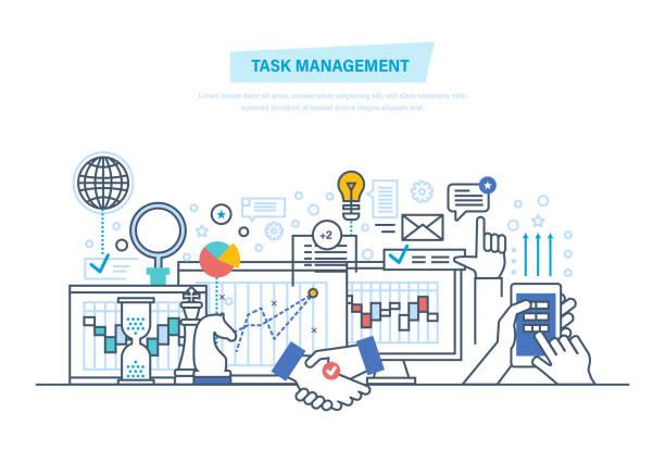 ilustrações, clipart, desenhos animados e ícones de gestão de tarefas, multitarefa. gerenciamento de tempo - afazeres domésticos