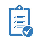 istock Tasks check, checklist blue icon 1256489977