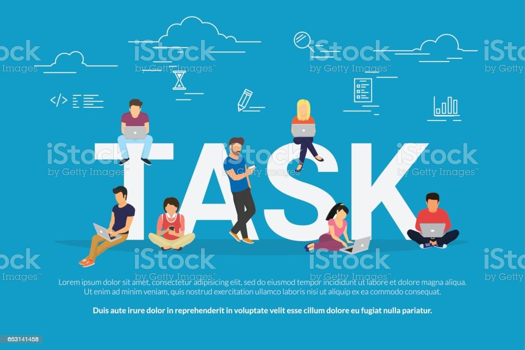 Tasks concept illustration of business people using devices for managing, project development and planning vector art illustration