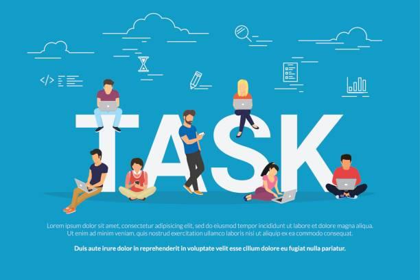 ilustrações, clipart, desenhos animados e ícones de ilustração de conceito de tarefas de pessoas de negócios usando dispositivos para gerenciamento, desenvolvimento de projetos e planejamento - afazeres domésticos