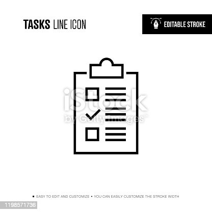 Tasks Line Icon - Editable Stroke