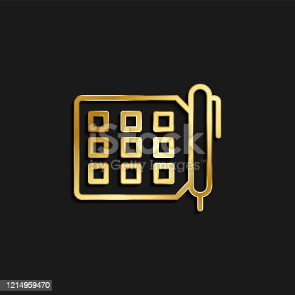 istock tasks, todo gold icon. Vector illustration of golden dark background 1214959470