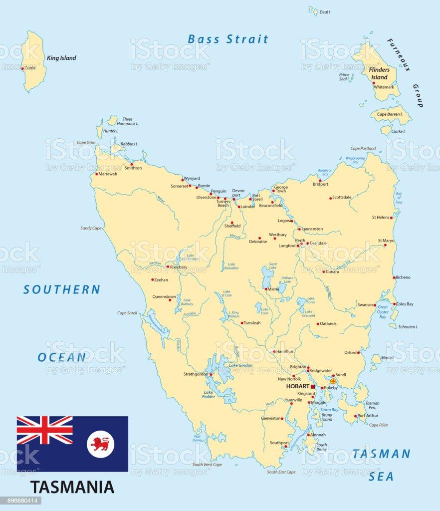 Map Of Australia And Tasmania.Tasmania Map With Flag Stock Vector Art More Images Of Australia