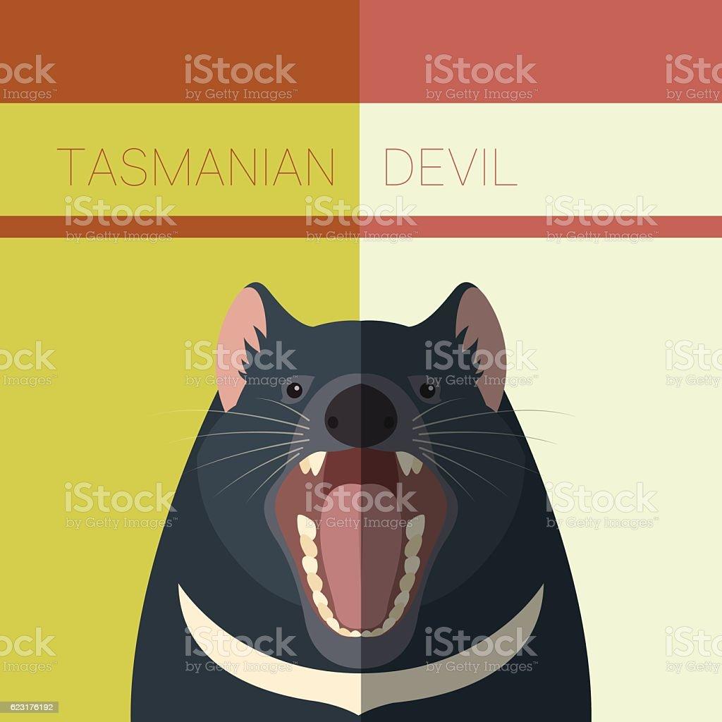 Tasmanian Devil Flat Postcard vector art illustration