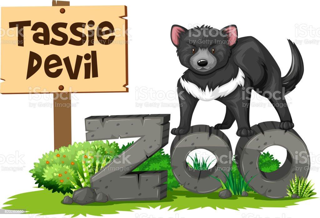Ilustración de Demonio De Tasmania En El Zoológico y más banco de ...