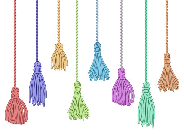 Tassel trim. Fabric curtain tassels, fringe bunch on rope and pillow colorful embelishments isolated vector set Tassel trim. Fabric curtain tassels, fringe bunch on rope and pillow colorful embelishments. Garment fringe embellishment bunch, ruffle yarns brush. Isolated vector symbols set tassel stock illustrations