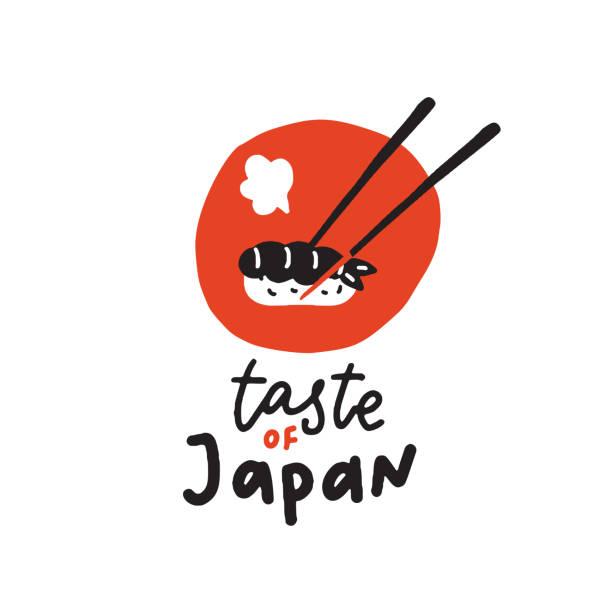 geschmack von japan. lustig handgezeichnete sushi-illustration. vektor. - japanisches essen stock-grafiken, -clipart, -cartoons und -symbole