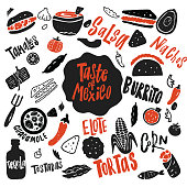 Taste of Mexico. Funny hand drawn vector illustration with names of food. Typography poster.
