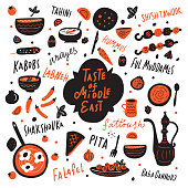 Taste of middle east. Funny hand drawn illustration with different middle eastern food and hand written names of the dishes.