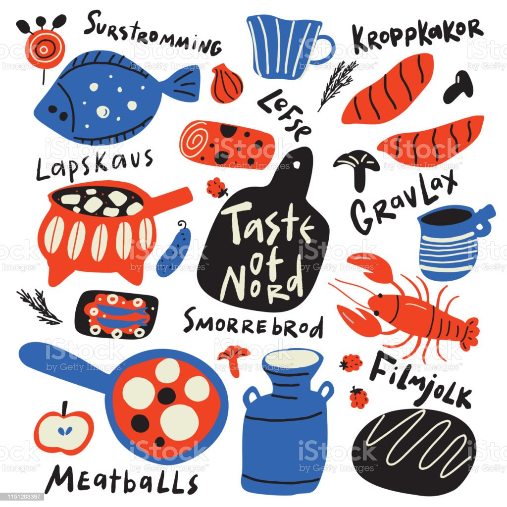 Taste Of Nord Funny Hand Drawn Typographic Illustration Of