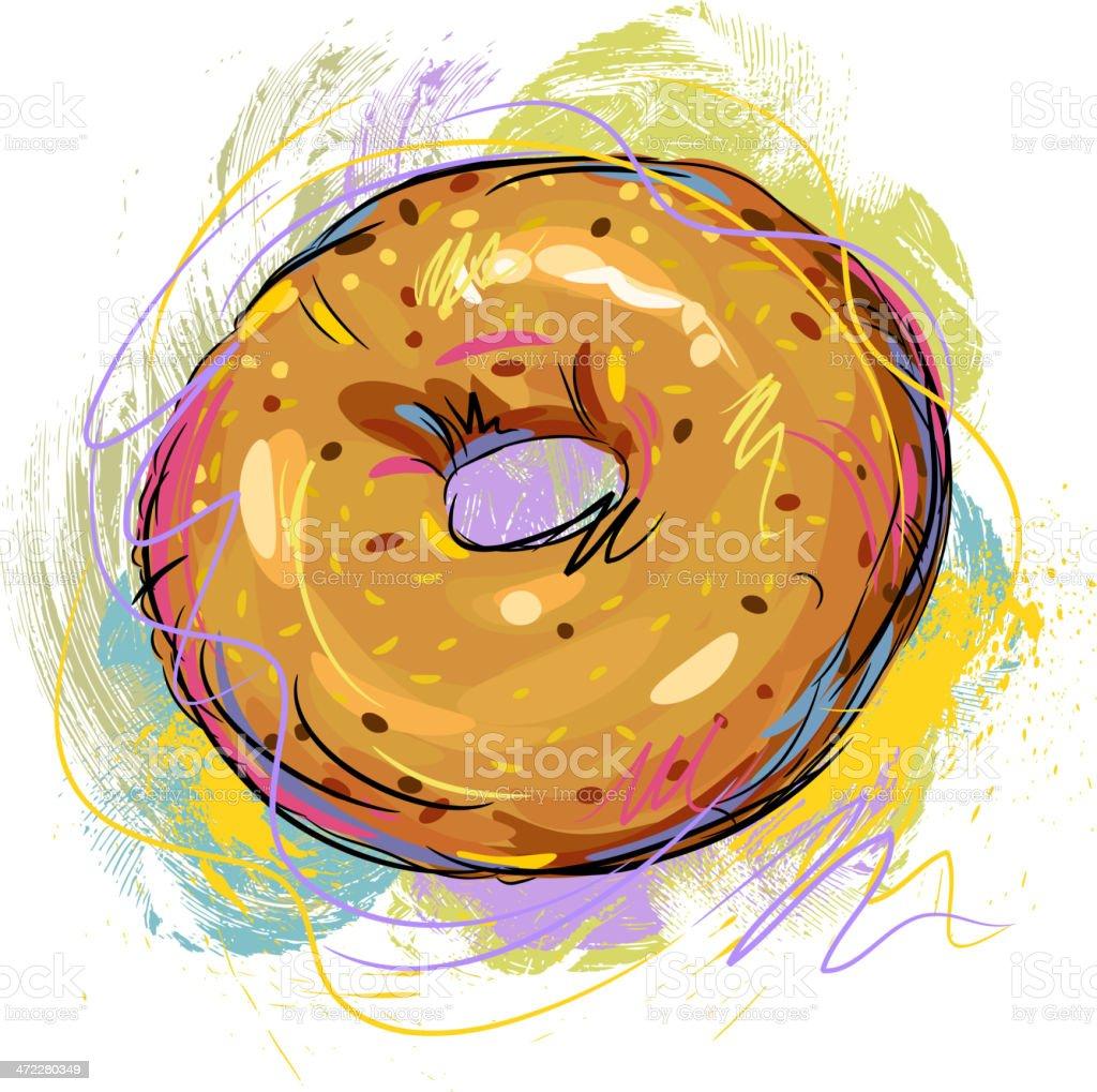 Tasty Bagel vector art illustration