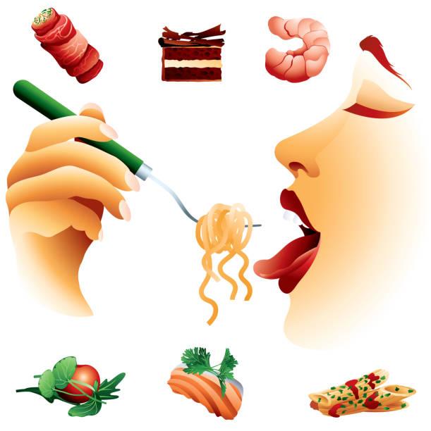 ilustrações de stock, clip art, desenhos animados e ícones de tasty bites - woman eating salmon