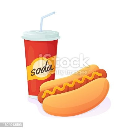 istock Tasty bright Hot Dog with soda combo. World no diet day, unhealthy fast food concept. Can be used for web, menu,banner. Stock vector illustration isolated on white bakground in realistic cartoon style 1304043593