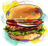 Drawing of Burger. Elements are grouped.contains eps10 and high resolution jpeg.
