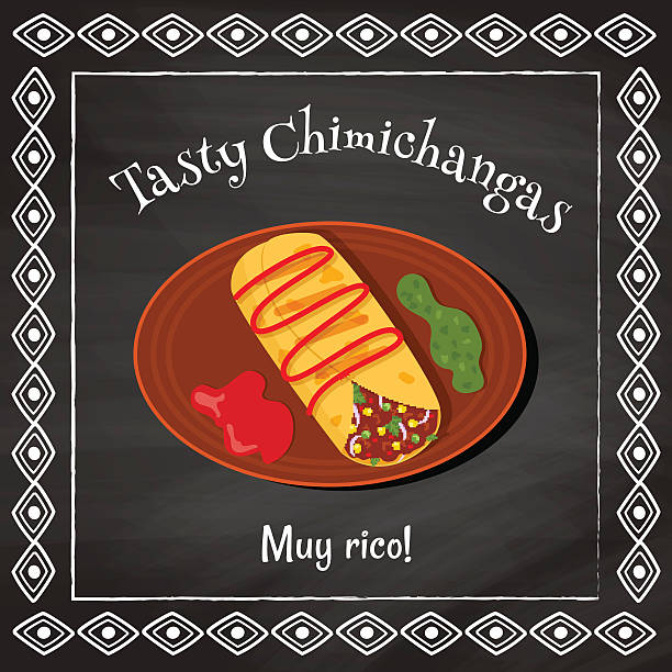 leckere chimichangas - chimichanga stock-grafiken, -clipart, -cartoons und -symbole