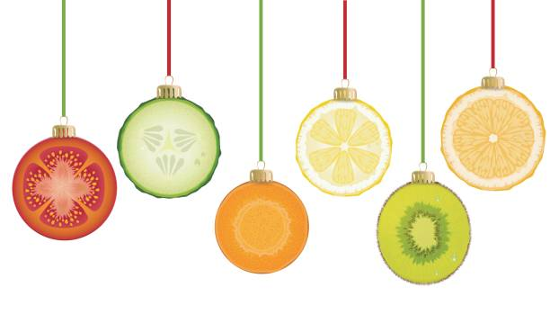 tasty christmas decorations - healthy eating stock illustrations, clip art, cartoons, & icons