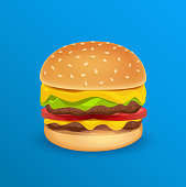 Vector Illustration of Tasty Classic Burger isolated on Blue neutral Background.