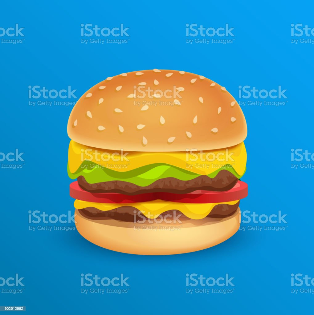 Tasty Classic Burger vector art illustration